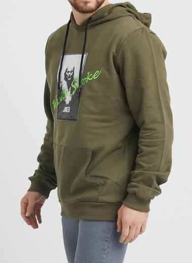 XHAN Haki Nakış Detaylı Sweatshirt 1Kxe8-44366-09 Haki